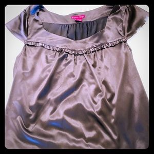 Gray Satin Ruffle Top